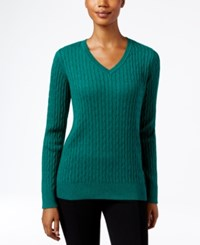 Karen Scott Marled Cable Knit Sweater Only At Macy's Marine Green Marled