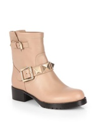 Valentino Lock Leather Studded Biker Boots Taupe