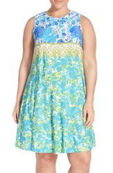 Plus Size Women's Gabby Skye Floral Print Jersey Trapeze Dress