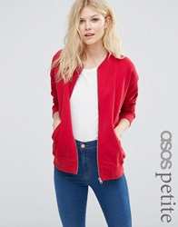 Asos Petite The Ultimate Bomber Jacket In Jersey Red