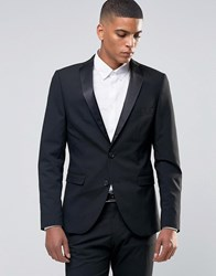 Selected Homme Tuxedo Suit Jacket With Stretch In Slim Fit Black