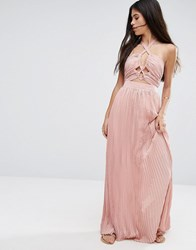Pixie And Diamond Halterneck Skater Dress With Cut Out Detail Light Dusty Pink