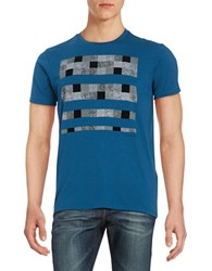 Ben Sherman Check Graphic Tee Canal Blue
