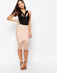 Missguided Mesh Hem Bodycon Pencil Skirt Nude Beige