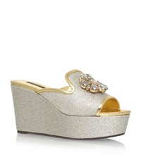 Dolce And Gabbana Bianca Embellished Glitter Wedges Female Silver