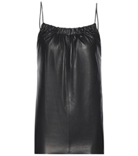 Victoria Beckham Leather Ruched Cami Top Black