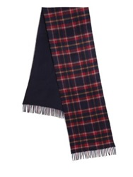 Saks Fifth Avenue Merino Wool And Cashmere Scarf Navy Red