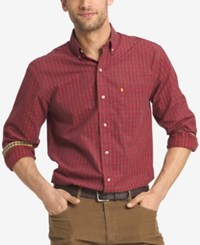 Izod Men's Big And Tall Plaid Shirt Real Red