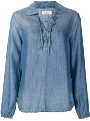 Frame Denim Lace Up Shirt Blouse Blue