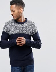 Brave Soul Jumper With Reverse Panel Navy