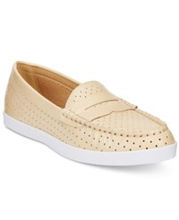 Wanted Carmel Perforated Penny Loafers Women's Shoes Natural