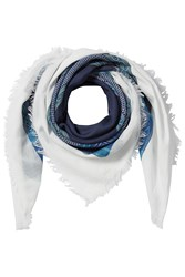 Closed Embroidered Cotton Scarf Blue