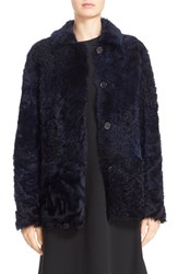 Sofie D'hoore Women's 'Cortes' Reversible Genuine Shearling Jacket Midnight