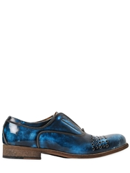 Veni Shoes Laser Cut Patent Leather Oxford Shoes Blue