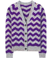 Miu Miu Chevron Wool Blend Knitted Cardigan Purple