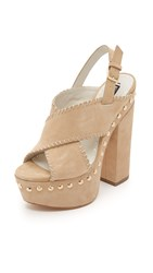 Alice Olivia Giana Platform Sandals Tan