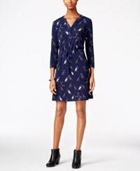 G.H. Bass And Co. Owl Print Fit And Flare Dress Deep Navy Combo
