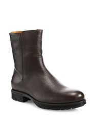 Aquatalia By Marvin K Logan Embossed Leather Mid Calf Boots Dark Brown
