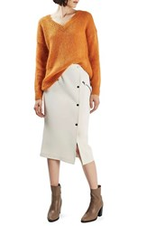 Topshop Women's Snap And Zip Midi Skirt