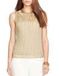 Lauren Ralph Lauren Metallic Pointelle Knit Tank Gold