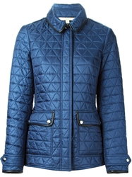 Burberry Brit Leather Trimmed Quilted Jacket Blue