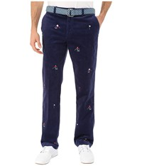 Vineyard Vines Skier Embroidered Cord Slim Breaker Deep Bay Men's Casual Pants Blue