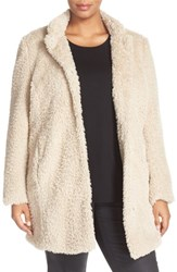 Kenneth Cole Plus Size Women's New York 'Original Teddy' Faux Fur Coat Ivory