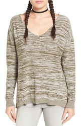 Women's Bp. Marl V Neck Pullover Olive Dark Bella Marl