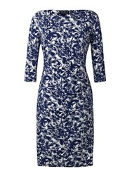 Grace Made In Britain Print Dress Navy