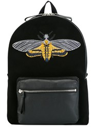 Alexander Mcqueen Skull Moth Embroidered Backpack Black
