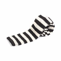 Nick Bronson Knitted Silk Stripe Tie Black White