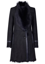 Karl Donoghue Midnight Blue Shearling Lined Suede Coat Navy