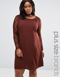 Junarose Plus Clarissa Dress With Lace Sleeves Decadent Chocolate Red