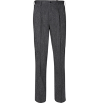 Issey Miyake Grey Woven Wool And Linen Blend Suit Trousers Gray