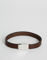 Ted Baker Clasp Bracelet With Leather Stitch Chocolate Brown