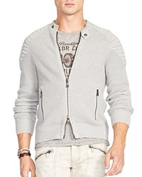 Polo Ralph Lauren Ottoman Stitched Full Zip Cardigan Rugby Grey Heather
