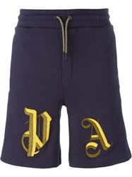 Palm Angels Insignia Embroidered Sweat Shorts Blue