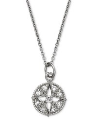 Giani Bernini Sterling Silver Necklace Cubic Zirconia Circle And Star Pendant 1 10 Ct. T.W.