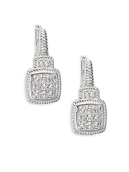 Judith Ripka Natalie White Sapphire And Sterling Silver Cushion Drop Earrings