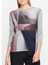 Jigsaw Architecture Shadow Print Silk Front Knitted Top Grey