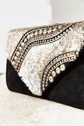 Ecote Embellished Envelope Clutch Grey