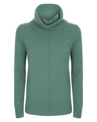 Jaeger Cashmere Cowl Neck Sweater Green