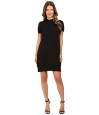 Vera Wang Short Sleeve Knit Dress W Tulle Back Black Women's Dress