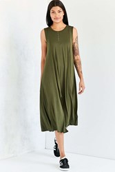 Silence And Noise Slit Knit Midi Tank Dress Olive