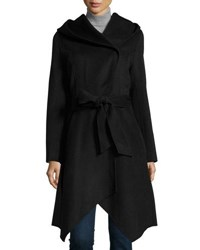 Zac Posen Sophia Wool Blend Hooded Coat Anthracite Melange