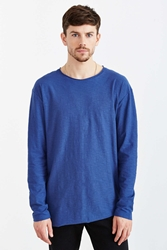 Feathers Slub Asymmetrical Hem Long Sleeve Tee Blue