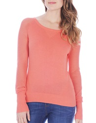 Buffalo David Bitton Battista Mesh Sleeved Sweater Bright Coral