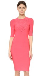Cushnie Et Ochs Short Sleeve Perforated Dress Guava