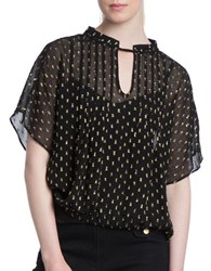 Plenty By Tracy Reese Sheer Embroidered Short Sleeve Kurta Top Black Gold