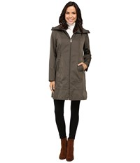 Cole Haan Double Faced Contrast Color Packable Jacket Olive Women's Coat